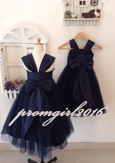 You can chose the standard size or custom make size Description of flower girl dress Picture shows:Navy Blue Taffeta Tulle Bridal Lace top+ Lace