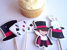 Magic Show Party - Set of 24 Assorted Magic Show Cupcake Toppers by The Birthday House. $12.00, via Etsy.