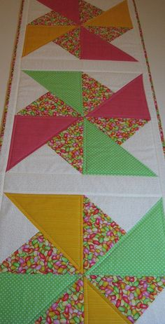 Easter/Springtime Pinwheel Quilted Table Runner by VillageQuilts, $45.00
