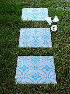 "DIY Patio Pavers..{Country Living Mag} Decorative Paint Makeover Ideas... ""To brighten up a plain concrete patio stone"" (very inexpensive at Lowes or Walmarts).. uses the patio stone, a stencil of your choice, and a brush.. Annie Sloan Challk Paint used here.."