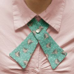 Retro Teal and Polka Dots Cat Lady Tie