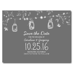 rustic save the date with fireflies mason jars