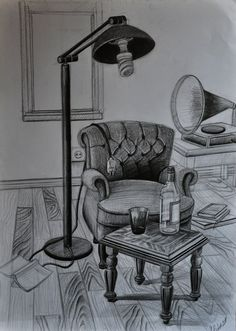 35 Armchair Pencil Drawing Ideas - New Cool Art Drawings, Pencil Art Drawings, Beautiful Drawings, Art Drawings Sketches, Drawing Ideas, Interior Architecture Drawing, Drawing Interior, Interior Design Sketches, Perspective Drawing Lessons