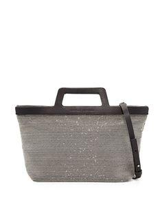 V2T9C Brunello Cucinelli Mini Monili Tote Bag, Black/Silver