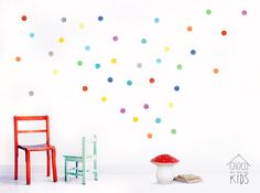 Watercolour Polka Dots PVC free fabric wall decals. The fabric is thin, matt and slightly woven. The decals are removable and reusable over 100 times.
