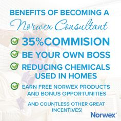 Just some of the many benefits of becoming a Norwex Consultant! You, too, can reap these amazing rewards - Start today!