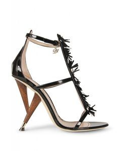 The star accessory from Dsquared2's spring summer runway, these sandals are constructed with a wooden 110mm heel inspired by a 50s table leg. The network of shimmering black paillettes and patent black leather create statement sandals that are instant outfit makers.#prom