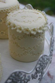 Double Lace cut out fondant Mini Cakes