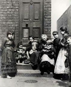 People living in Gerard Street, Liverpool, England, 1895.