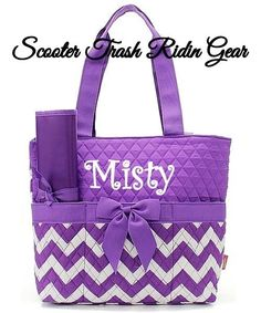 Diaper Bag Personalized Baby Tote Purple White Chevron Zigzag Monogram New