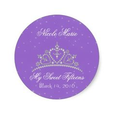 Purple Princess Tiara Party Favor Sticker