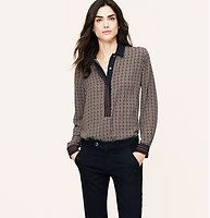 Petite Mosaic Stripe Utility Blouse - We love the retro-refined personality of this drapey beauty. Collared. Long sleeves. Covered henley button placket. Button cuffs. Shirttail hem.