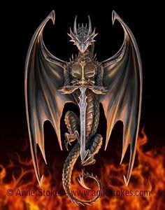 # Dragon Warrior Art work by Anne Stokes Dragon Tattoo With Skull, Celtic Dragon Tattoos, Dragon Tattoo Designs, Celtic Fantasy Art, Fantasy Dragon, Celtic Art, Skull Pictures, Dragon Pictures, Mythical Creatures Art