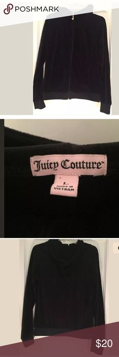 🎀🎀Juicy Couture Black zip up Juicy Couture Black Long Sleeve Hooded Zip Up Sweater  Size Large Bling Juicy J zipper still partially covered in protective plastic  New without Tags 78% COTTON 22% POLYESTER. 🚫trades 🚫offers Juicy Couture Jackets & Coats