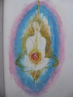 By Ashley Sims. Oil pastel on paper 2002. A Buddhist/ meditation influenced image.