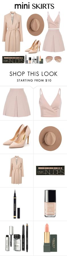 """Mini Skirts!"" by gabymatey ❤ liked on Polyvore featuring Alexander McQueen, Rupert Sanderson, Satya Twena, L.K.Bennett, Yves Saint Laurent, Chanel, Bobbi Brown Cosmetics, MAC Cosmetics and H&M"