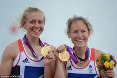 Golden girls: Katherine Copeland and Sophie Hoskins with their lightweight double sculls medals