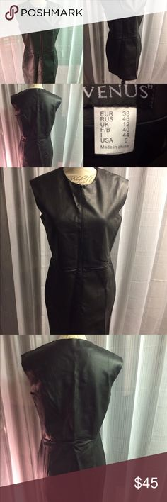 Vegan leather sheath dress with front slit Never worn and in flawless condition. venus Dresses Midi