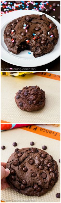 1 XXL Death by Chocolate Cookie - this recipe is loved by so many readers! @Sally McWilliam [Sally's Baking Addiction]