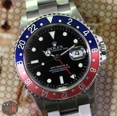 """Pop The Cap!"" #Rolex 40mm GMT-Master II #Pepsi Red/Blue Bezel Ref#: 16710 * Z Serial, circa 2006 http://www.elementintime.com/Rolex-GMT-Master-II-16710-Stainless-Steel-Pepsi-Red-Blue-Bezel-Used #Rolexwatchesused"