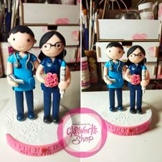 Doctor / nurse bride and groom polymer clay wedding cake topper Polymer clay doctor / nurse bride and groom wedding cake topper, handmade, personalized Polymer Clay Cake, Polymer Clay Crafts, Wedding Cake Toppers, Wedding Cakes, Bunting, Groom, Bride, Giveaways, Banners