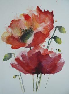 Aquarelle d'un bouquet de deux coquelicots en fleur : Peintures par gwendolyne
