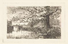 Elias Stark | Landschap met boom en brug, Elias Stark, 1886 | Landschap met op de voorgrond een boom aan het water en op de achtergrond een brug.