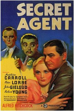 Alfred Hitchcock - Secret Agent Movie Reproduction Poster