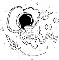 Find Astronaut Hand Drawn stock images in HD and millions of other royalty-free stock photos, illustrations and vectors in the Shutterstock collection. Astronaut Cartoon, Astronaut Drawing, Astronaut Illustration, Space Drawings, Cool Art Drawings, Art Drawings Sketches, Easy Drawings, Planet Drawing, Space Doodles