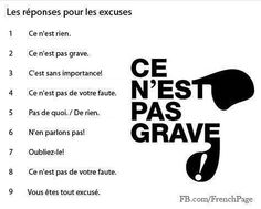 Les réponses pour les excuses - have students practice excusing themselves for various things and having a partner answer this way French Language Lessons, French Language Learning, French Lessons, French Phrases, French Words, French Quotes, French Expressions, French Teaching Resources, Teaching French