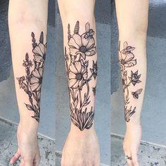 Super fun Botanical Piece for Rianne today ☪ thanks again #tattoo #blacktattoo…