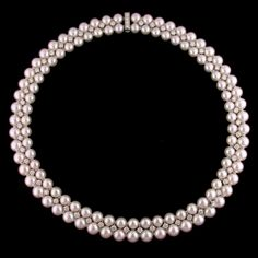 Platinum pearl and diamond necklace designed by Oscar Heyman.