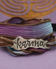 Eco friendly bracelet of reclaimed metal and hand dyed silk brings mindfulness to our actions with the word, karma, stamped on its slider. Silk Wrap Bracelets, Metal Bracelets, Cuff Bracelets, Karma Bracelet, Chakra Bracelet, Yoga Jewelry, Bracelet Making, Jewelry Making, Things To Sell