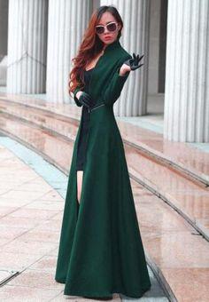 Wool-Blend-Trench-Coat-Slim-Women-Coat-Slit-Outwear-Coat-Long-Maxi-Dress-Blue