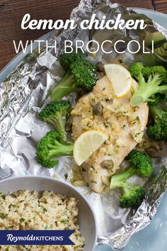 This Lemon Chicken with Broccoli recipe is a healthy meal the whole family will love. Tear off four sheets of Reynolds Wrap® to form foil packets that keep your food juicy and make cleanup a cinch. Simply fold the ends of the foil together and seal tightly, leaving room for heat to circulate inside. You can place the packets on a baking sheet and pop them in the oven, or cook them on a covered grill when it's warm. Wholesome and versatile!