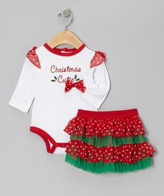 White & Red 'Christmas Cutie' Bodysuit Set - Infant | Daily deals for moms, babies and kids