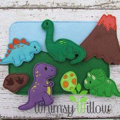 Dinosaur Felt Playset ITH Embroidery Design by WhimsyWillowEmb Felt Diy, Felt Crafts, Handmade Felt, Sewing Crafts, Sewing Projects, Dinosaur Play, Felt Finger Puppets, Sewing Stuffed Animals, Felt Quiet Books