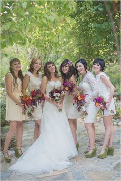 white bridesmaids dresses #mismatcheddresses #bridesmaids #weddingchicks http://www.weddingchicks.com/2014/02/26/fun-and-feisty-forest-wedding/