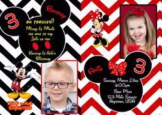 Mickey Mouse Birthday Invitation, Birthday, Twin Birthday, Invitations