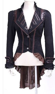 Victorian Jacket With Tailcoat Ruffles Steampunk Military Gothic Coat Frock Lace and Vegan Leather Trim Steampunk Jacket, Mode Steampunk, Steampunk Fashion, Victorian Fashion, Steampunk Clothing, Alternative Outfits, Alternative Fashion, Gothic Coat, Mode Mantel