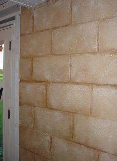 Warmer hue on cinder block wall