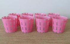 Vintage Pink Frosted Glass Tumblers - Set of 8 - Juice Glasses - Retro Barware