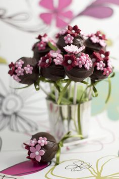chocolate cake pop pink flower