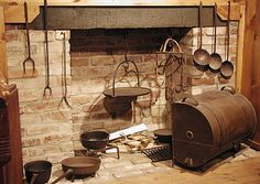 Hearthside Cooking: A reflector oven uses the heat of an open fire in this 18th-century cooking vignette.