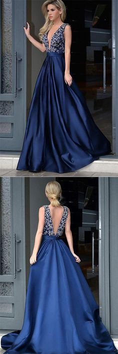 Elegant A-line Dark Blue Deep V-neck Satin with Beading Sweep Train Backless Prom Dresses,#OpenBack Sleeveless Evening Dresses,#RoyalBlueProm Dresses,#LongEveningDress,#FormalDress