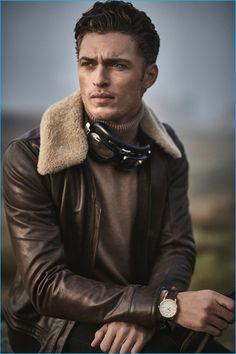 Model Harvey Haydon is front and center in a Belstaff leather bomber for Gentleman's Journal.