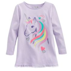 Jumping Beans Long-Sleeve Ruffle Unicorn Tee - Toddler