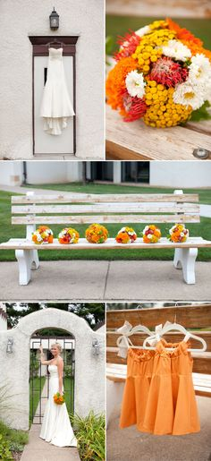 Bright green and orange colorful wedding in August