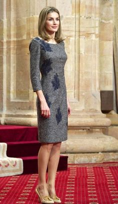 Her Royal Highness Doña Letizia, Princess of Asturias, Princess of Viana, Princess of Girona, Duchess of Montblanc, Countess of Cervera and Lady of Balaguer wearing a design by Felipe Varela.