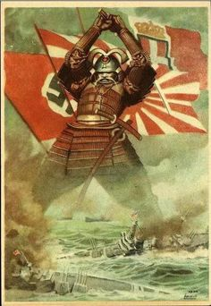 A Japanese propaganda poster from WWII showing the flags of its allies date unknown Military Art, Military History, Caricature, Ww2 Propaganda Posters, History Posters, War Photography, Ghost In The Shell, Historical Pictures, Cool Posters